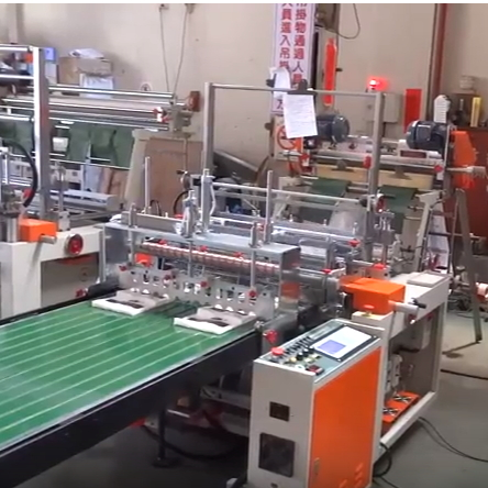 2 Line Plastic Bag Sealing and Cutting Machine + Automatic Hot Pin Stample